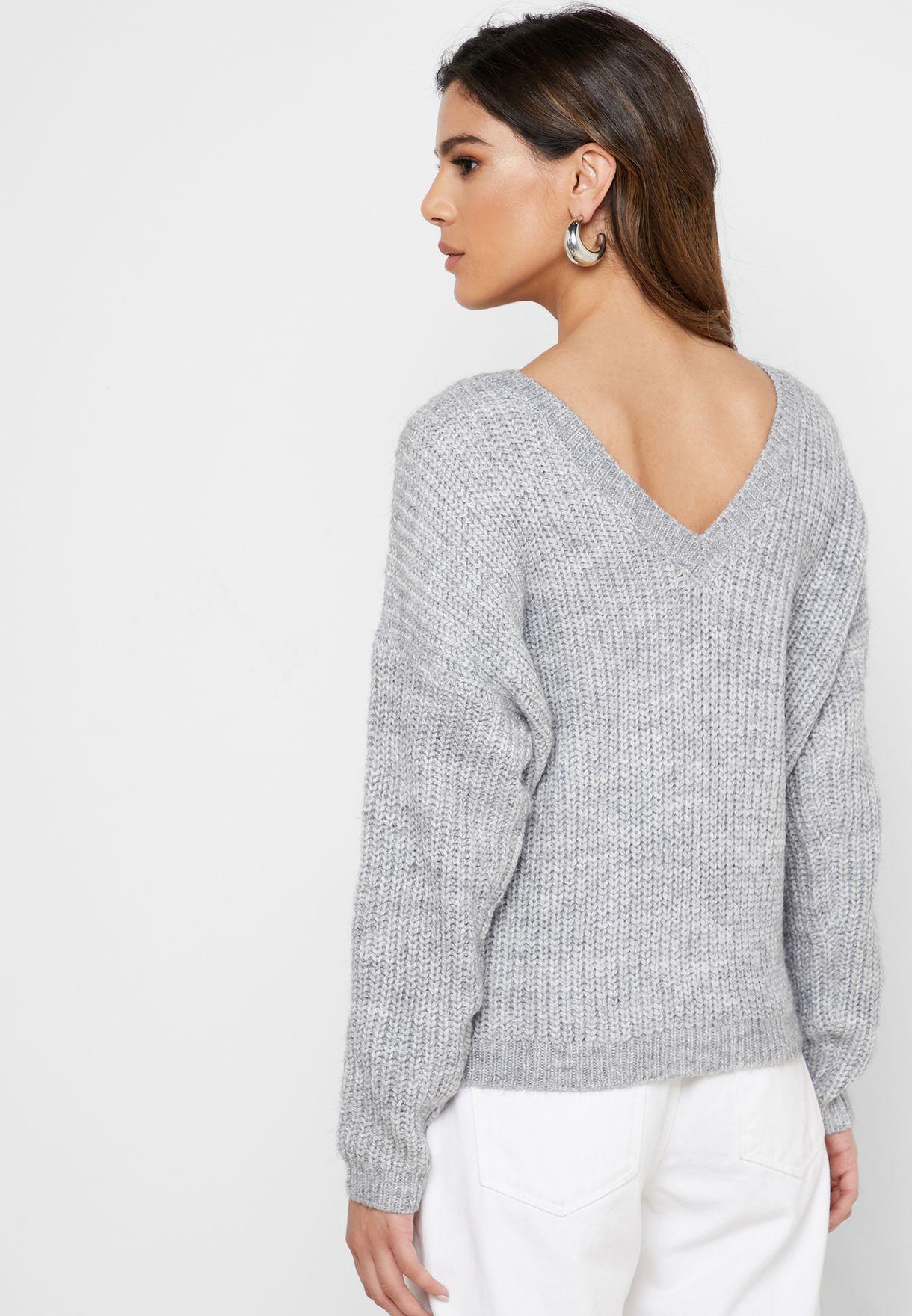 V- Back Heavy Knit Sweater