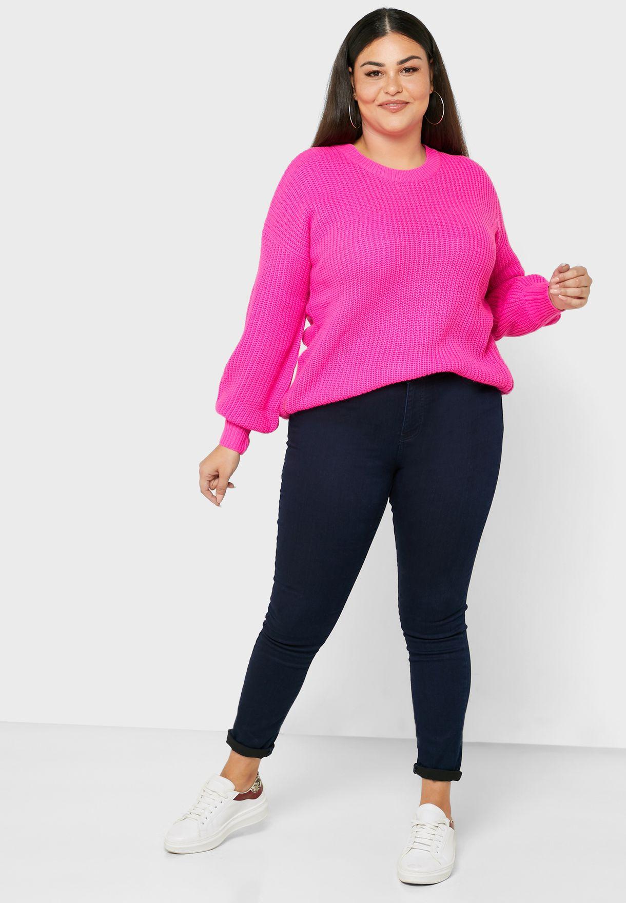 Side Zip Puff Sleeve Sweater