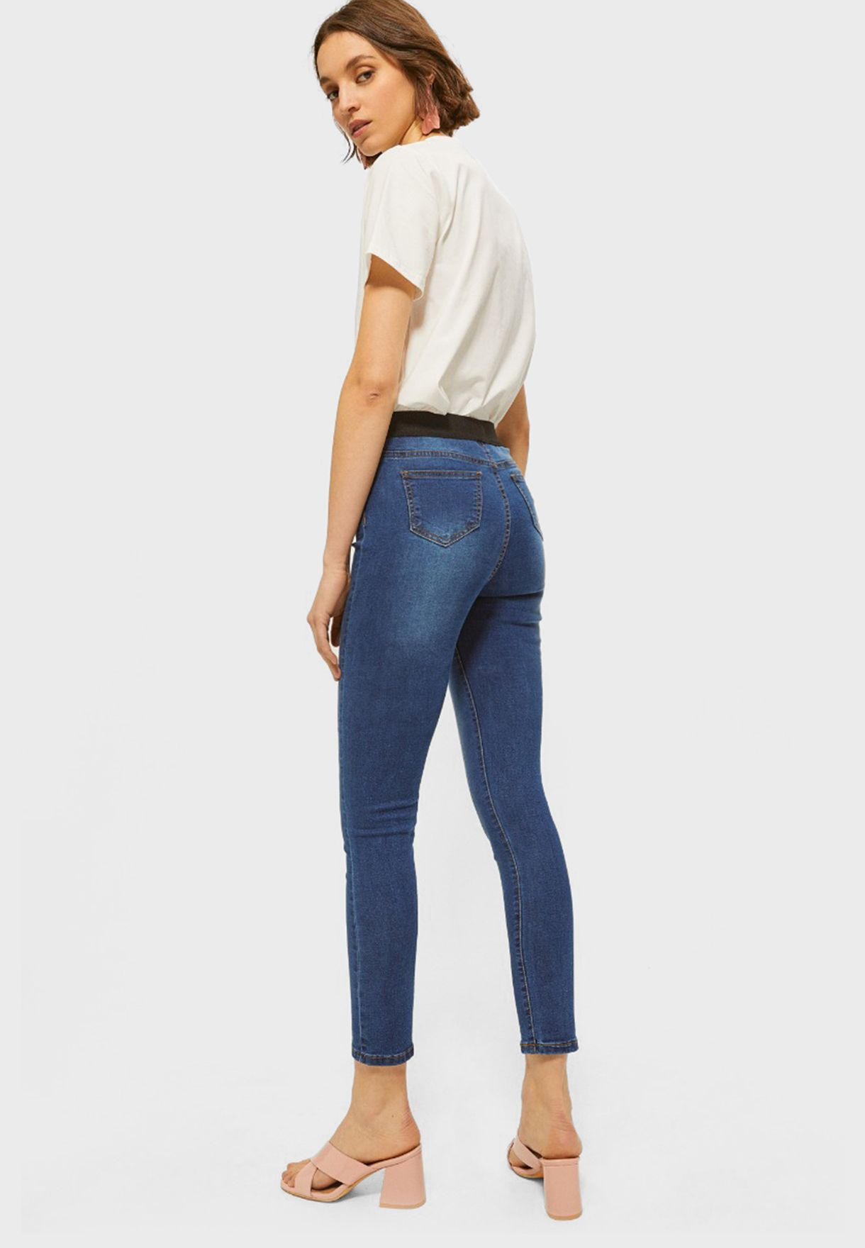 Ripped Mid Wash Jeggings