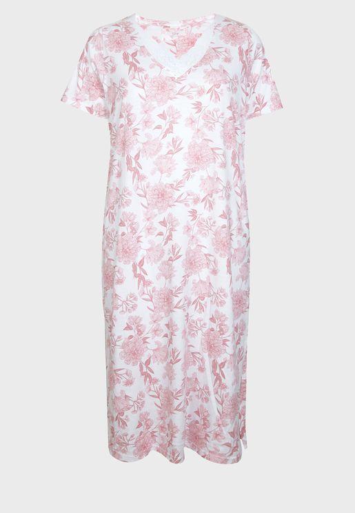 قميص نوم بطبعات ازهار