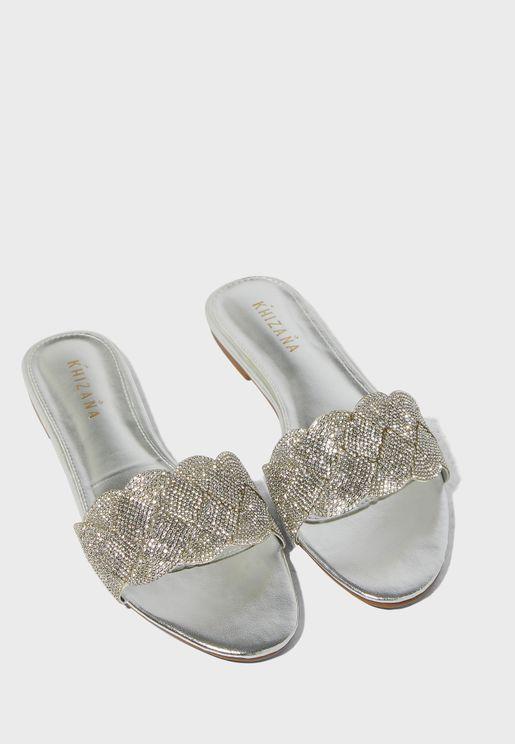 Diamante Plait Slide On Sandals