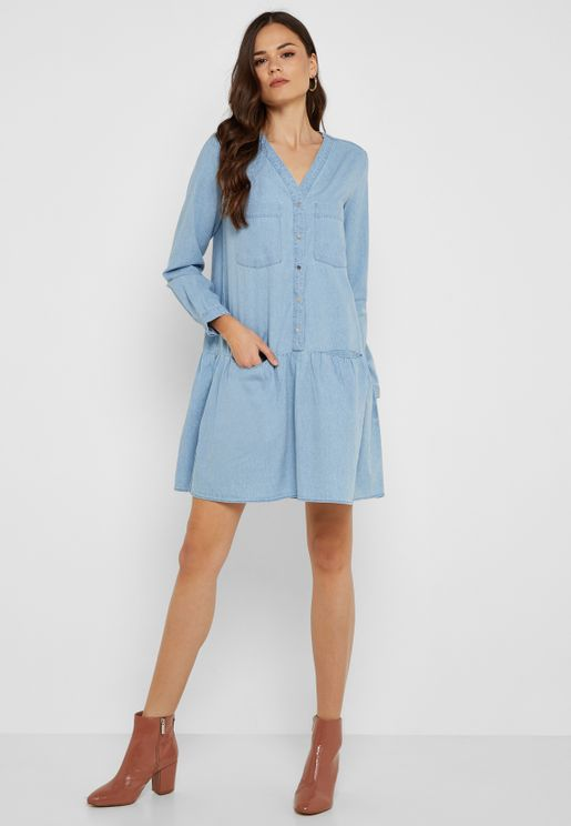 Pocket Detail Denim Dress