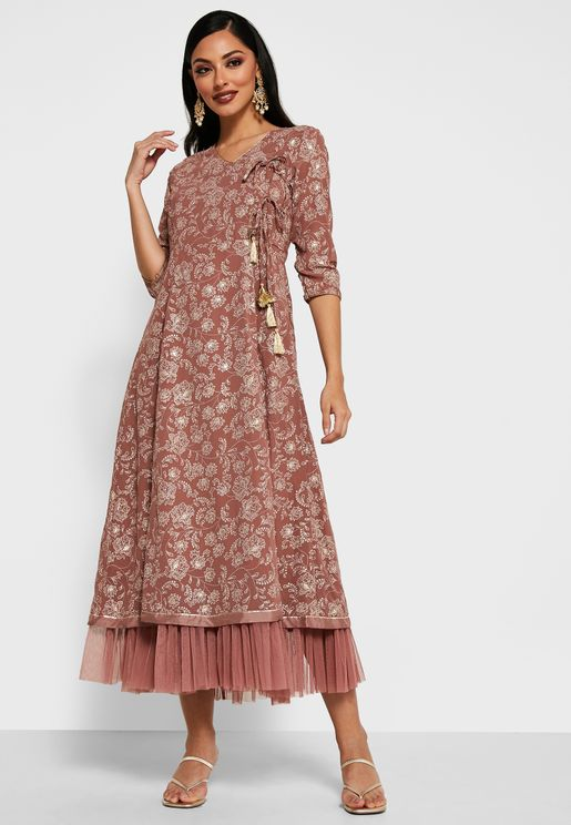 Rose Pink Foil Layered Angrakha Tunic