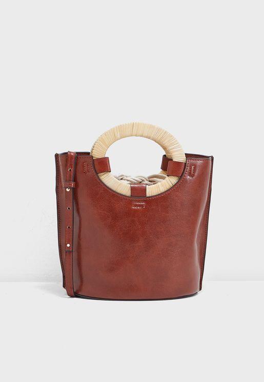 Catania Wooden Handle Bucket Bag