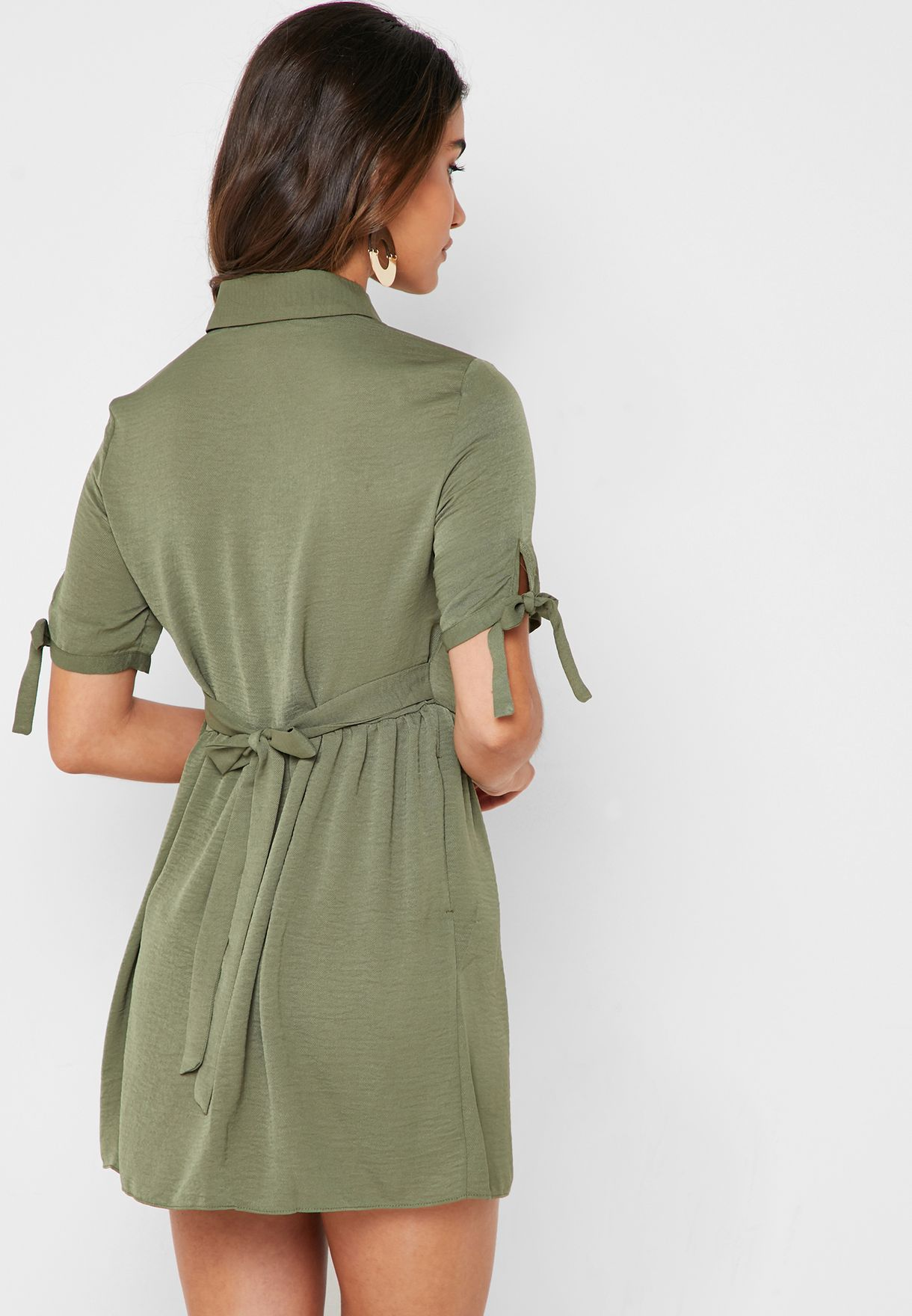 Tie Sleeve Shirt Dress