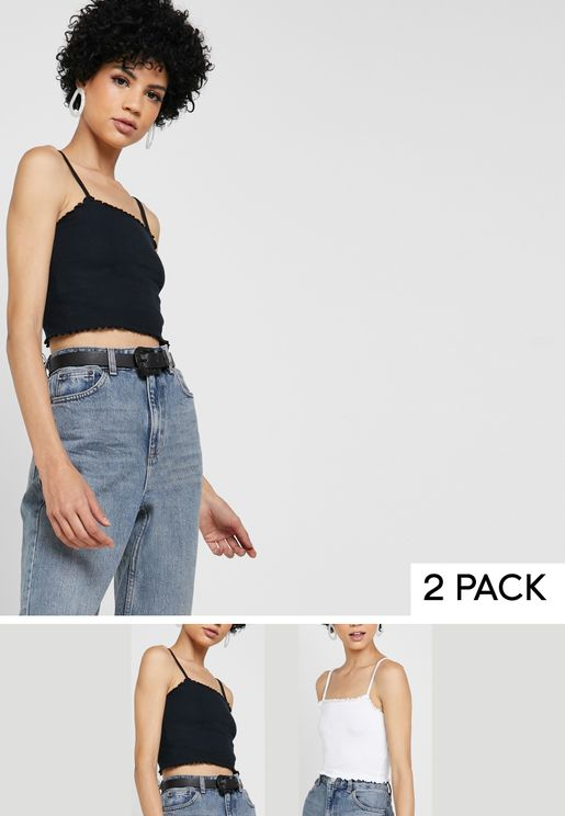 Contrast Trim Cropped Tank Top Multipack