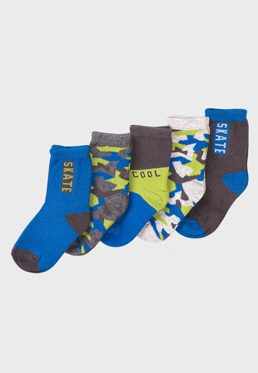 Kids 5 Pack Skate Cool Camo Socks