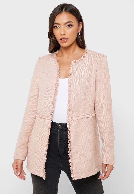 Fringe Detail Longline Jacket