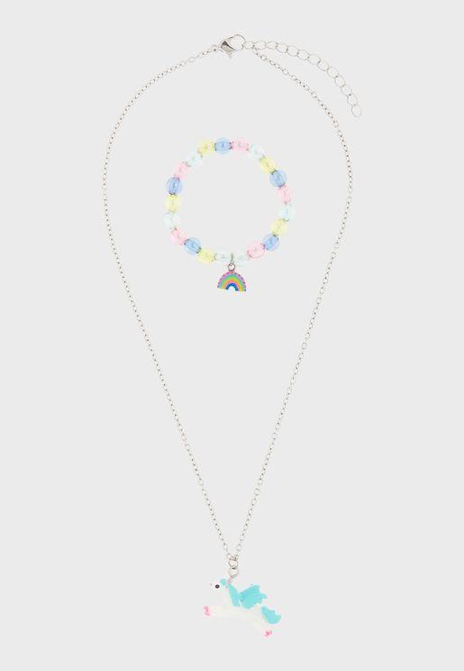 Kids 2 Pack Unicorn Necklace