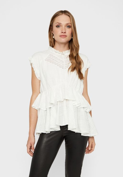 High Neck Ruffle Detail Layered Top