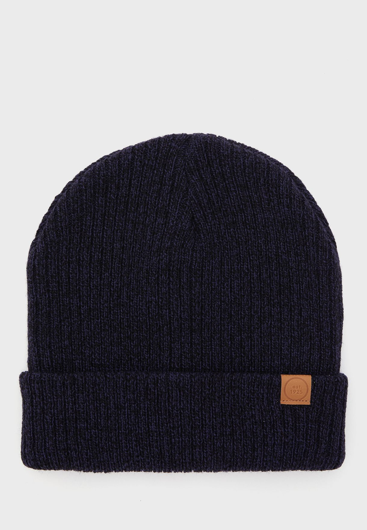 Mens Ribbed Solid Colour Beanie
