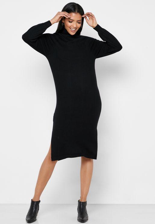 High Neck Side Split Textured Dress