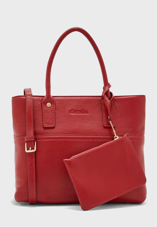Leather Tote With Wallet