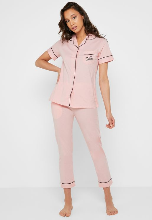 Slogan Chest Pocket Shirt Pyjama Set