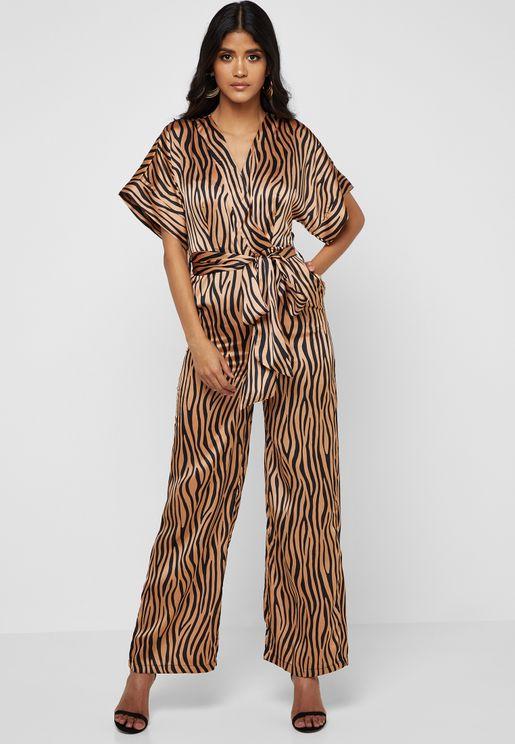Animal Print Belted Jumpsuit