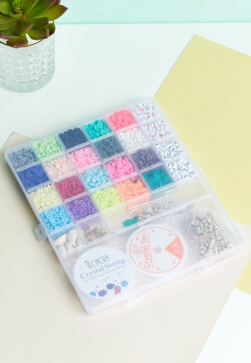 Diy Bright Flat Bead Jewellery Letters Set Including Tools, Pearls And Charms