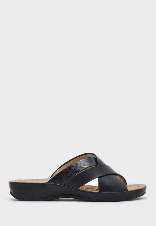 Cross Strap Mid Heel Sandal