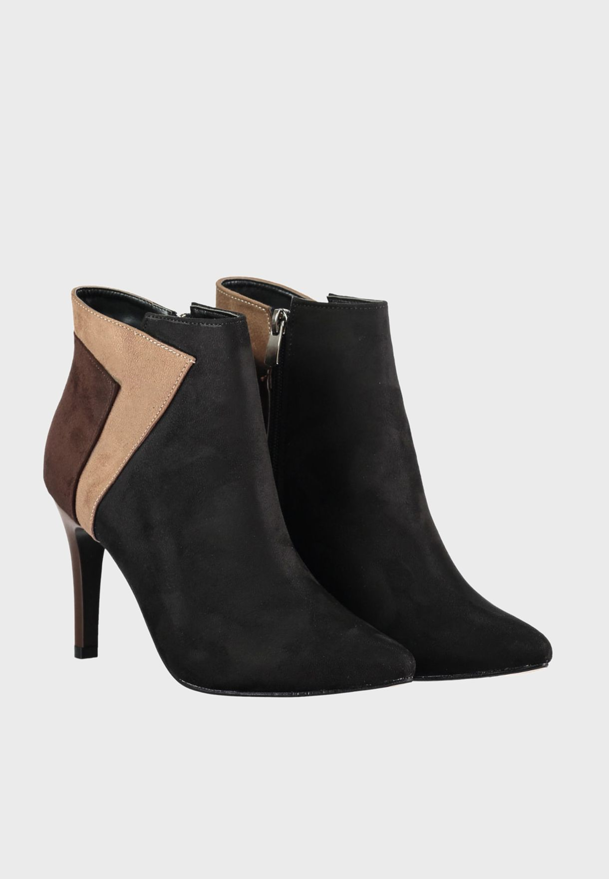 Suede Mid Heel Ankle Boot