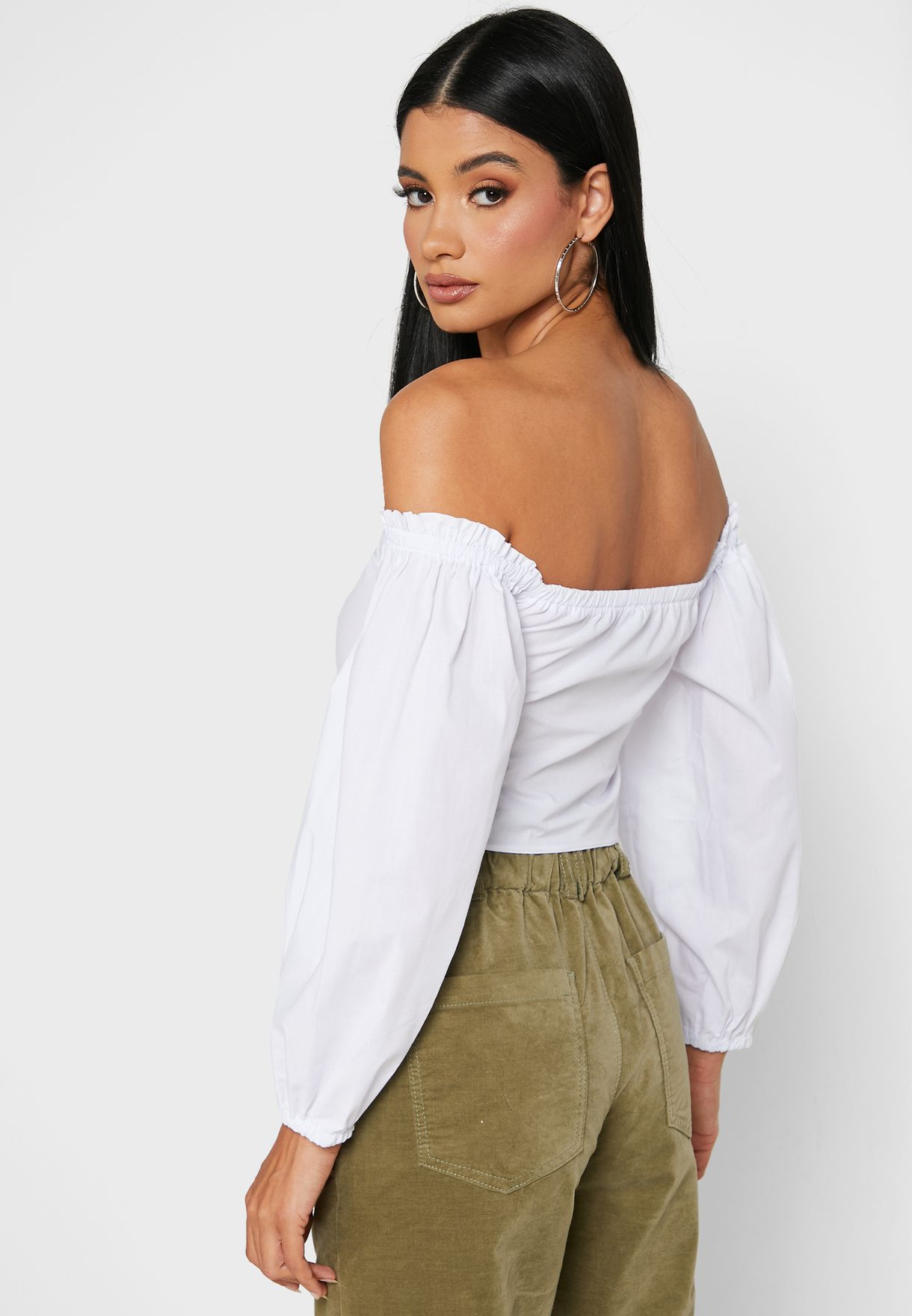 Front Ruched Bardot Crop Top