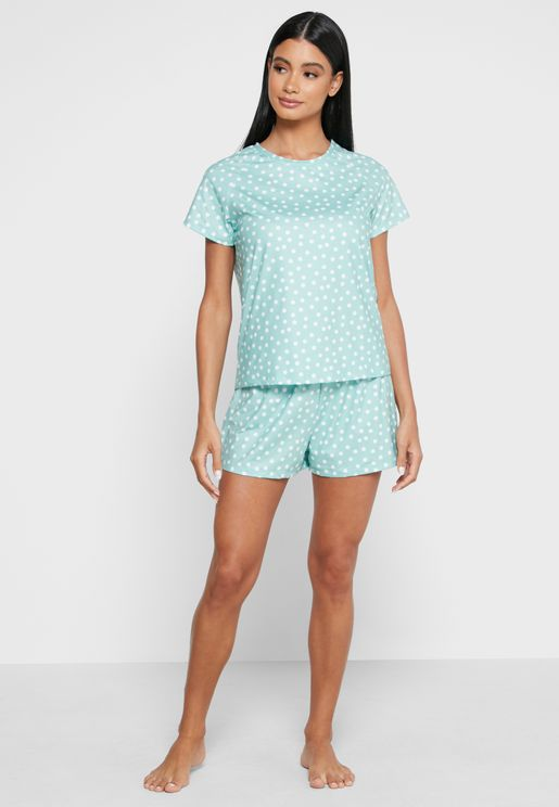 Spot Print T-Shirt & Shorts Set