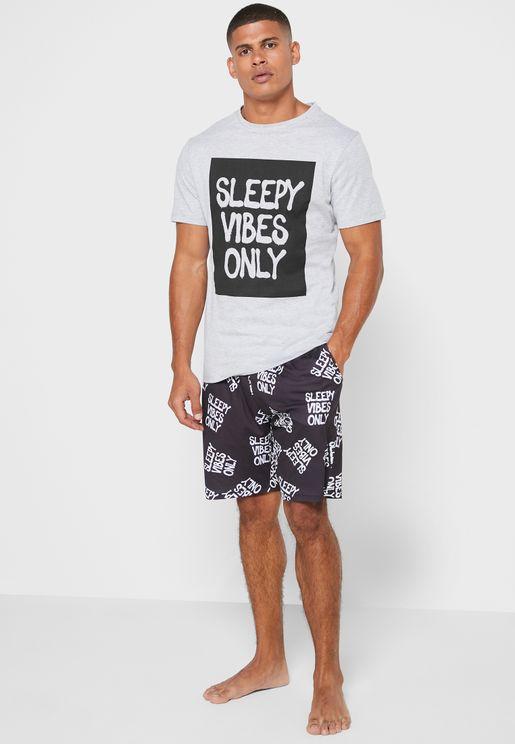 Sleepy Vibes Only Pyjama Shorts Set