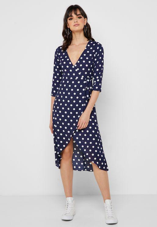 04acec1e656 Polka Dot Wrap Dress. Forever 21