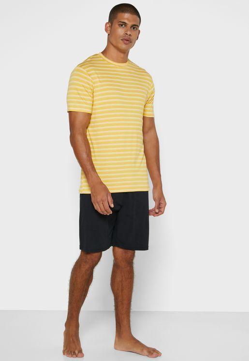 Striped  Shirt & Short Pyjama Set