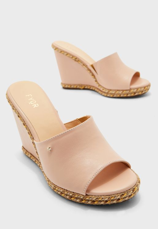 Embellished Mid Heel Wedge Sandal