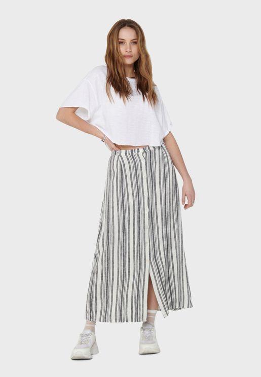 Button Through Striped Skirt