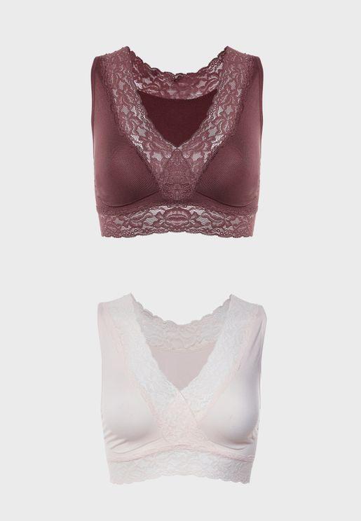 2 Pack Lace Trim Crossover Bra