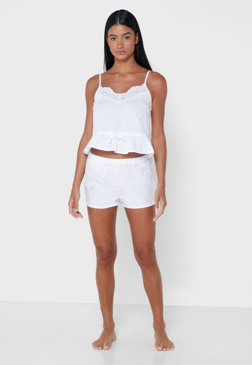 Lace Trim Cami Top & Shorts Set
