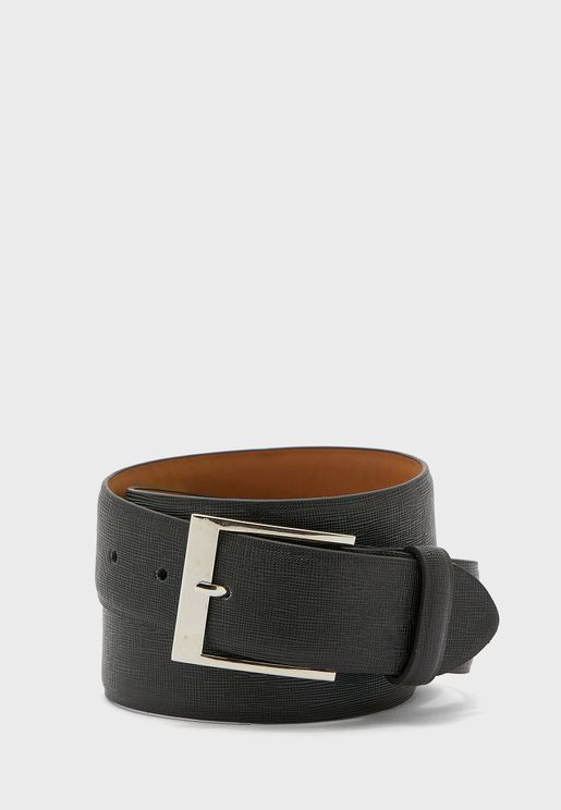 Brick Effect Leather Lined Belt