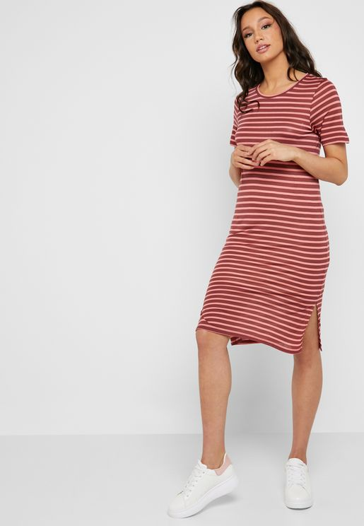 Striped Side Slit Dress
