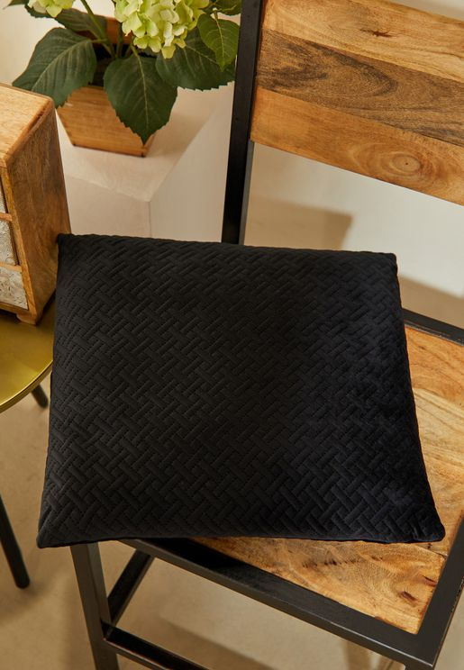 Black Quilted Velvet Cushion With Insert 45*45