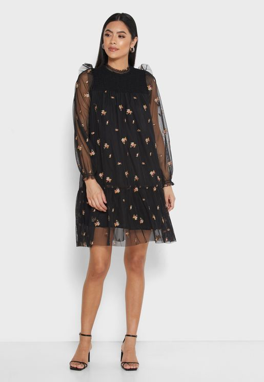 Printed Mesh Overlay Mini Dress