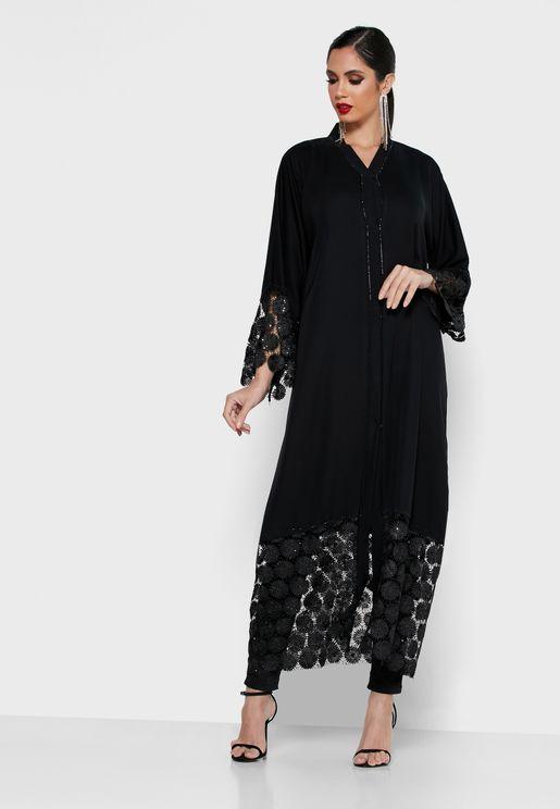 Embellished Lace Trim Abaya