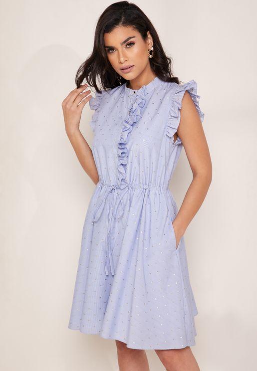 فستان باربطة مزين بكشكش