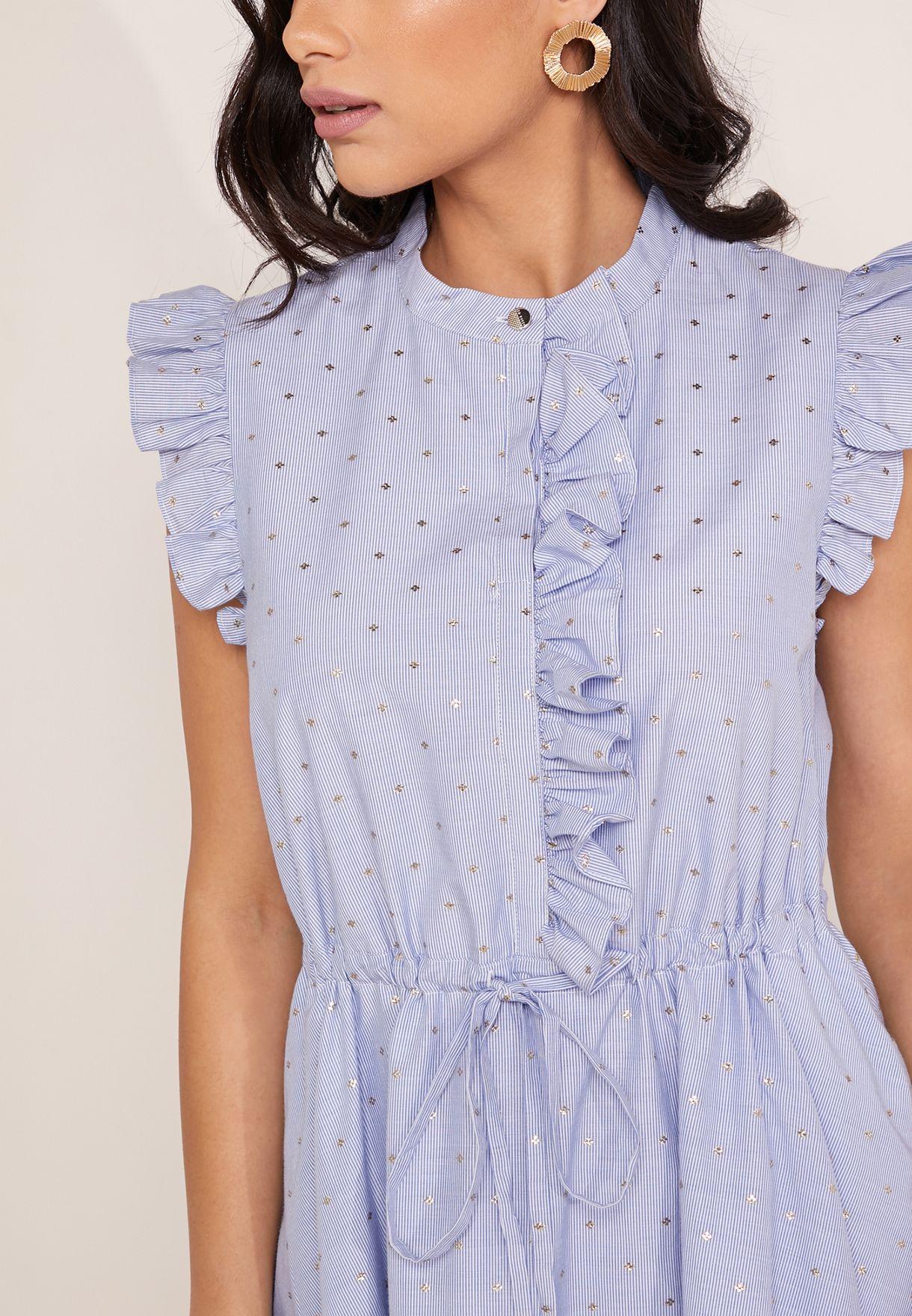 Stand Collar Ruffle Shift Dress