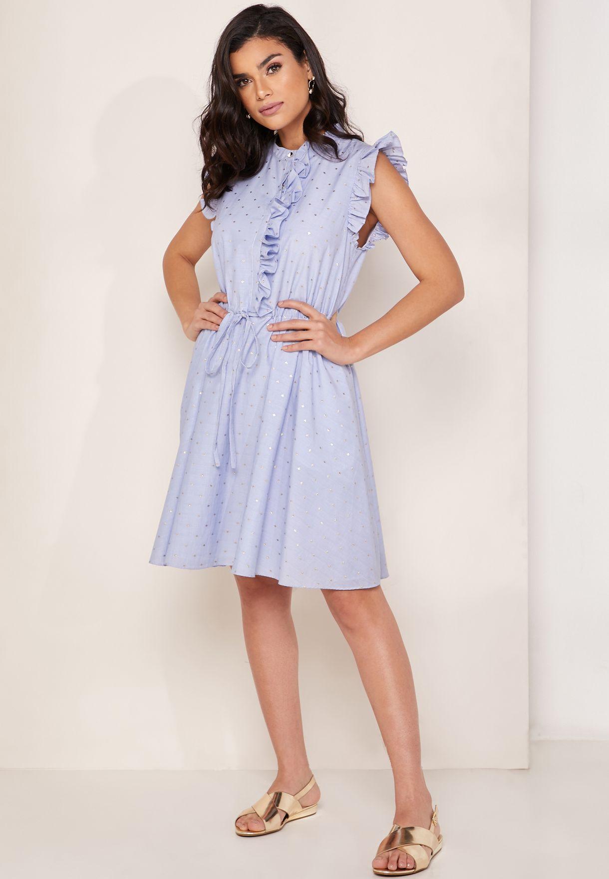 13c29965993 Stand Collar Ruffle Shift Dress
