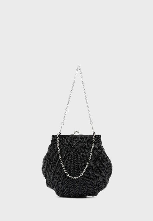 Beaded Shell Evening Clutch Bag