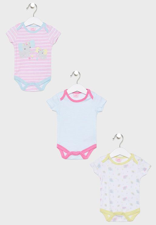 Infant 3 Pack Elephant Bodysuits