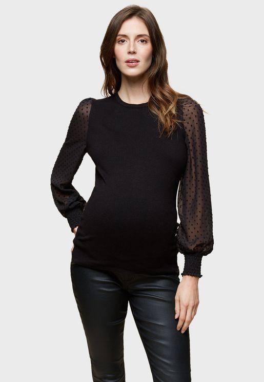 Sheer Sleeve Shirred Cuff Sweater