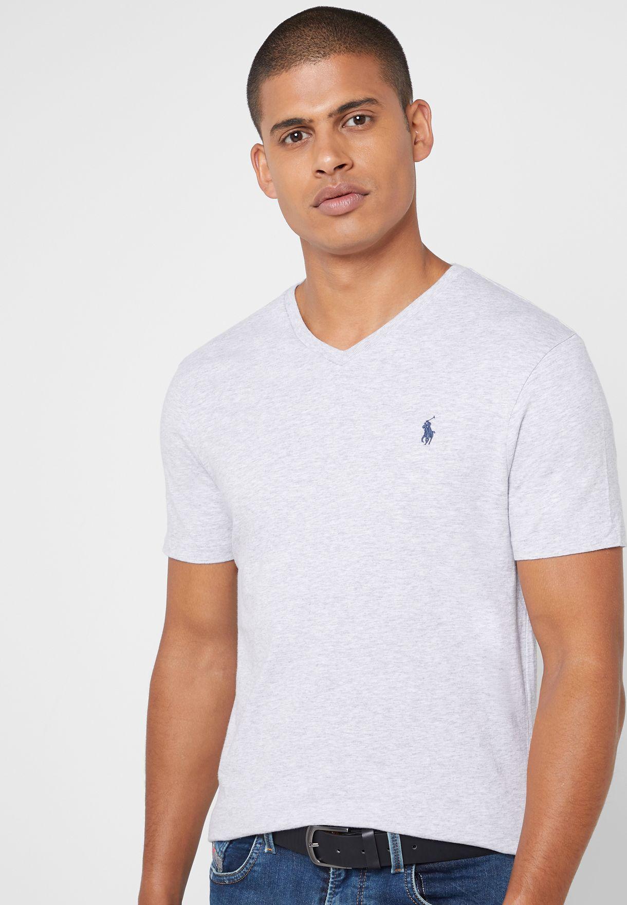 5acefeb5a6a96b Shop Polo Ralph Lauren grey Custom Slim Fit Cotton T-Shirt ...