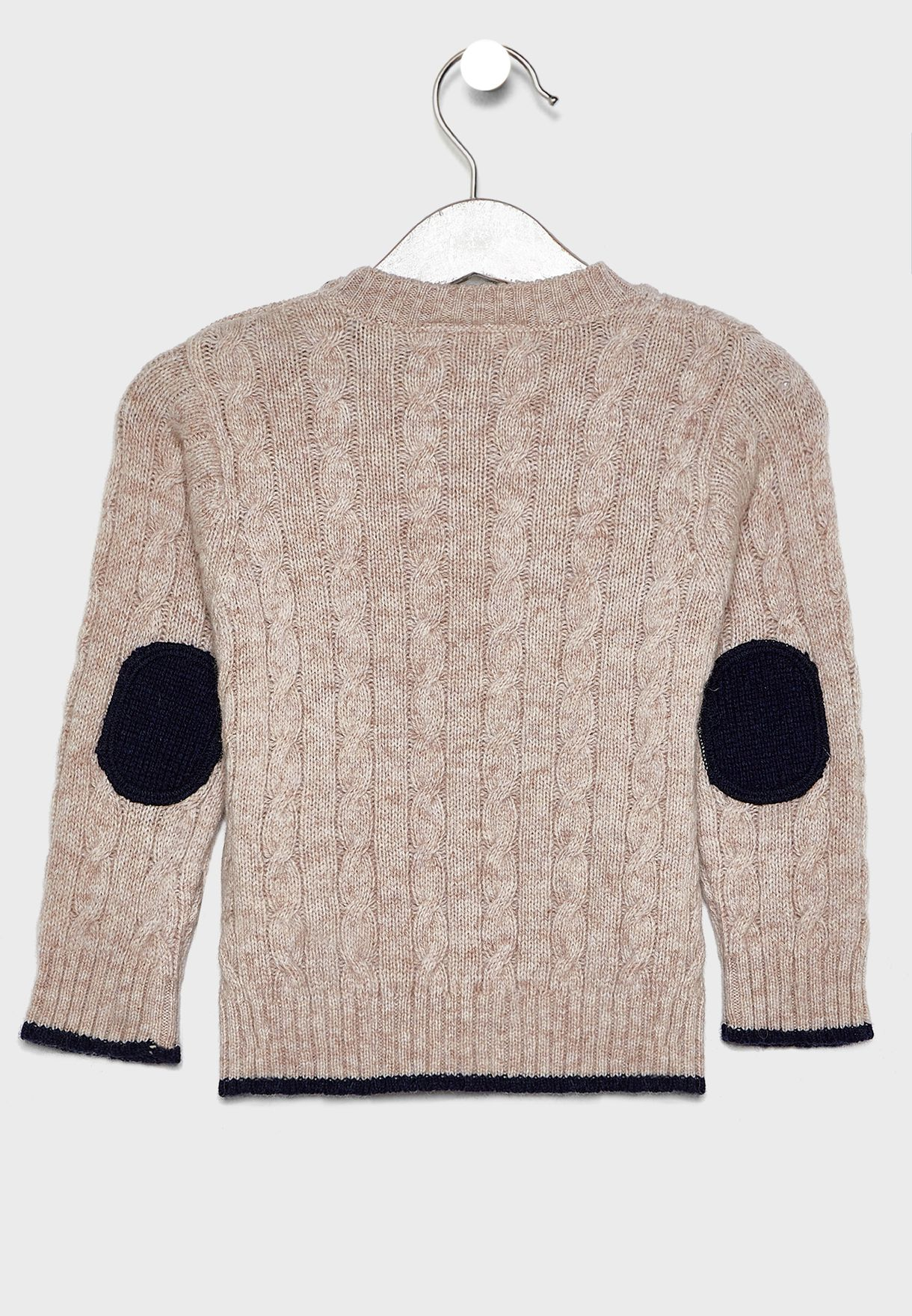 Kids Button Detail Cable Knit Sweater