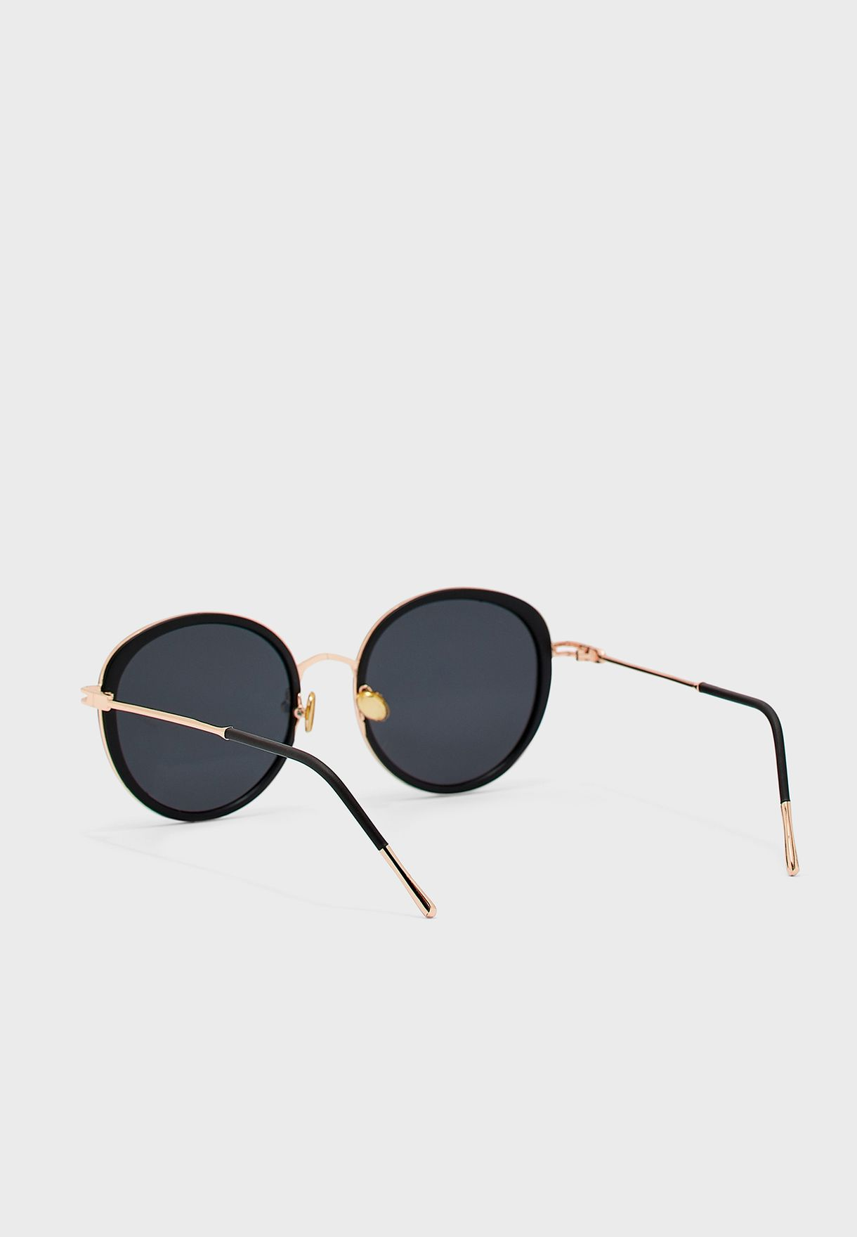 Oversized Round Matt Frame Sunglasses With Gold Trim  (POLARIZED )