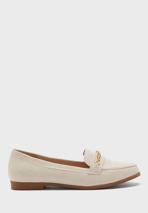 حذاء جلد تمساح فلات