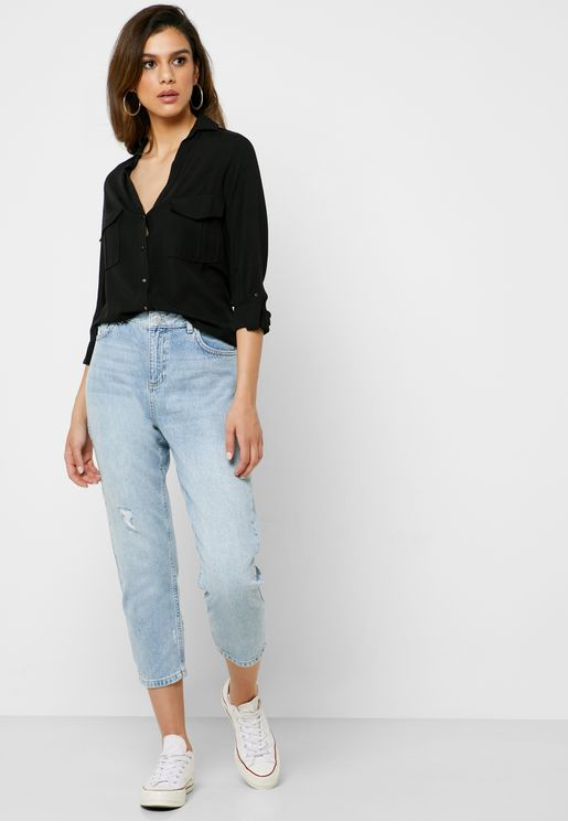Light Wash High Rise Straight Jeans