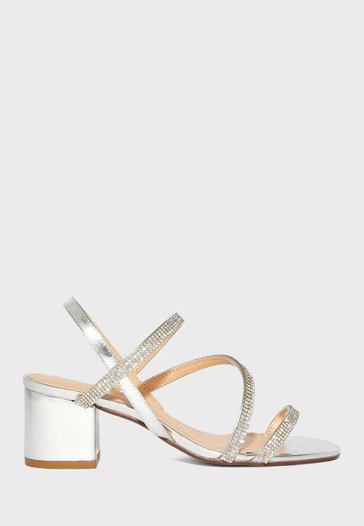 Diamante Triple Strap Block Heel Sandal