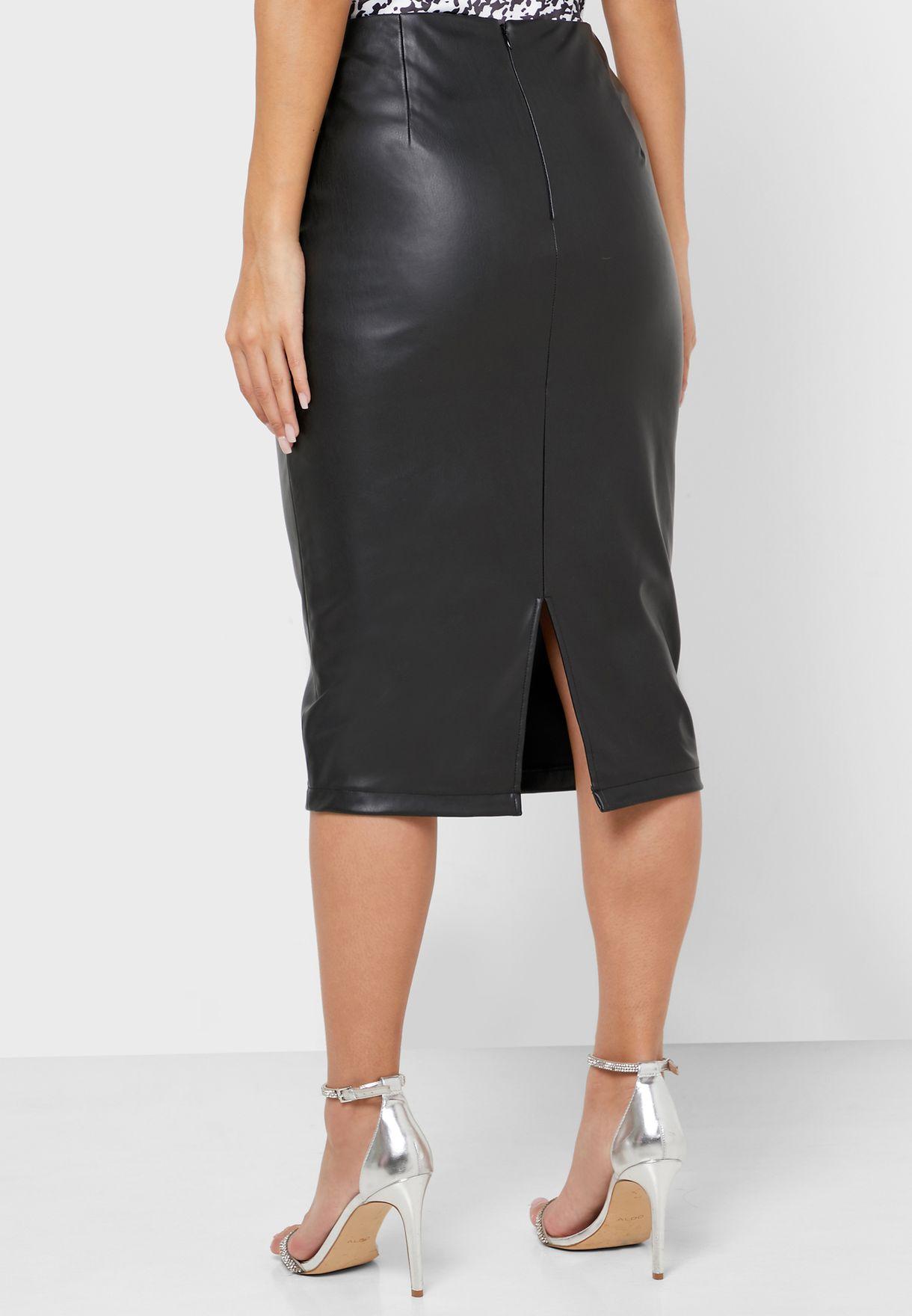 Bodycon Pu Midi Skirt