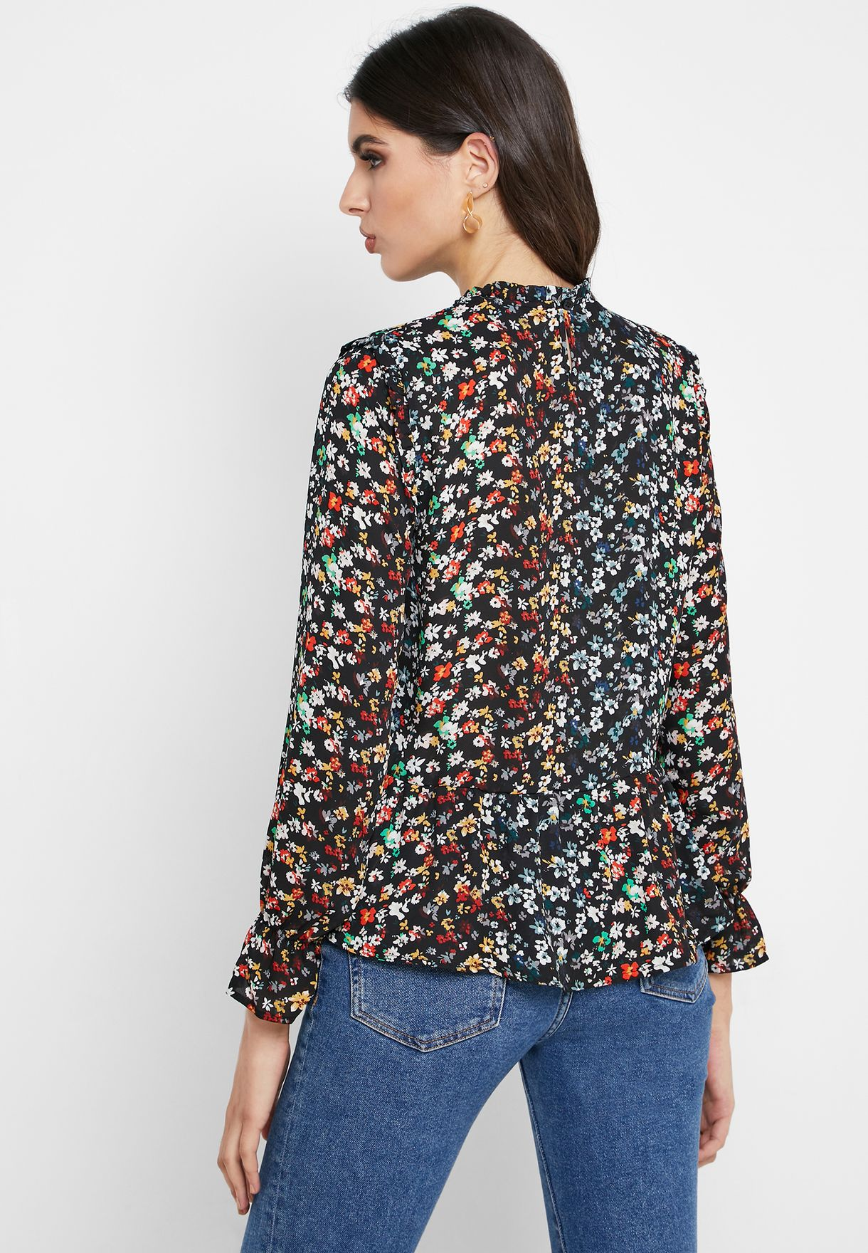 High Neck Ditsy Print Top